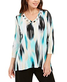 Printed Grommet-Neck Top, Created for Macy's