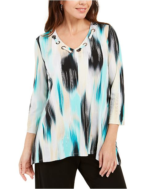JM Collection Petite Printed Grommet-Neck Top, Created For Macy's