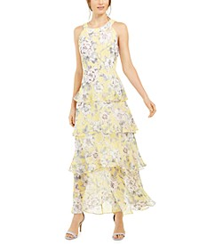 Victoria Floral-Print Halter-Neck Maxi Dress