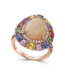 EFFY® Opal (2 1/4 ct. t.w.), Multi Sapphire (5 5/8 ct. t.w.) & Diamond (3/8 ct. t.w.) Pear Ring in 14k Rose Gold