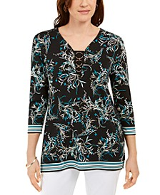 Petite Ring-Neck Printed Tunic, Created For Macy's