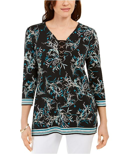 JM Collection Petite Ring-Neck Printed Tunic, Created for Macy's