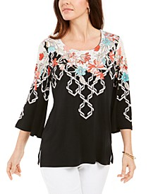 Printed Flared-Sleeve Top, Created For Macy's