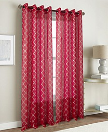 "Stratford Metallic Quatrefoil 54"" x 84"" Sheer Curtain Panel"