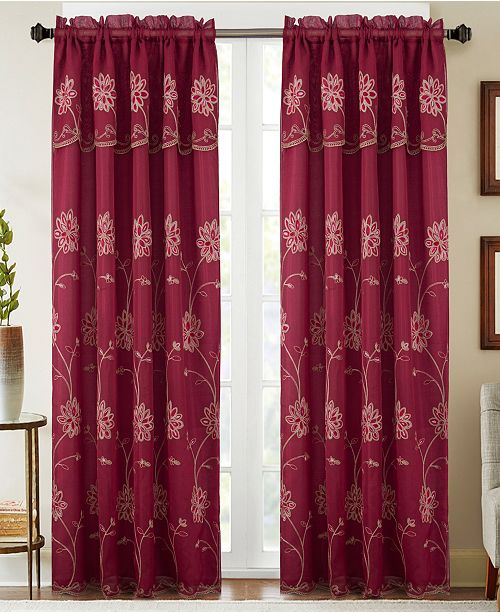 """RT Designers Collection Carter Floral Embroidered 54"""" x 84"""" Curtain Panel With Attached Valance"""