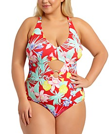California Waves Trendy Plus Size Tropical Printed Cutout One-Piece Swimsuit, Created For Macy's