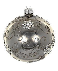 "Pair of Graphite European Mouth Blown Hand Decorated 3.25"" Round Holiday Ornaments"