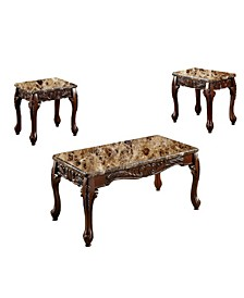 Wooden Table Set with Marble Top
