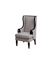 Transitional Wing Accent Chair with Line Fabric