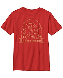 Harry Potter The Deathly Hallows Brave At Heart Gryffindor Little and Big Boy Short Sleeve T-Shirt