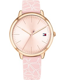 Women's Blush & White Floral Silicone Strap Watch 36mm, Created For Macy's