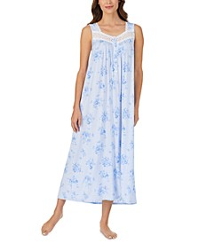 Lace-Trim Floral-Print Ballet Nightgown