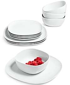 Whiteware Soft Square 12-Pc. Dinnerware Set, Service for 4, Created for Macy's