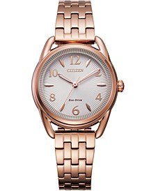 Drive From Eco-Drive Women's Pink Gold-Tone Stainless Steel Bracelet Watch 30mm