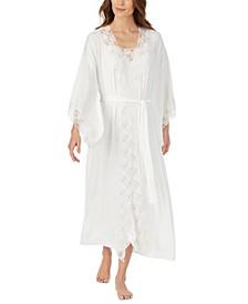 Lace-Trim Satin Ballet Wrap Robe