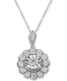 """Diamond Flower 18"""" Pendant Necklace (1/3 ct. t.w.) in Sterling Silver"""