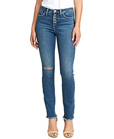 High Note Slim-Leg Ankle Ripped Jean