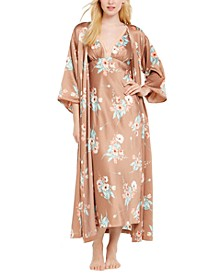 INC Floral-Print Long Wrap Robe, Created For Macy's