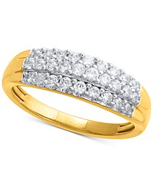 Diamond Three-Row Cluster Ring (1/2 ct. t.w.) in 14k Gold