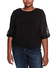 Plus Size Sheer-Sleeve Top