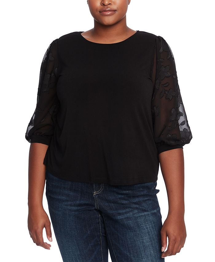 CeCe - Plus Size Sheer-Sleeve Top