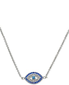 "Cubic Zirconia Evil Eye Pendant Necklace in Sterling Silver, 16"" + 2"" extender, Created for Macy's"