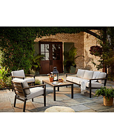 Stockholm Outdoor 4-Pc. Seating Set (Sofa, 2 Club Chairs & Coffee Table) with Sunbrella® Cushions, Created for Macy's