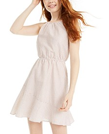 Juniors' Textured-Stripe A-Line Dress