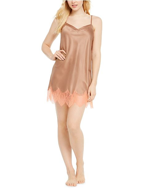 INC International Concepts INC Lace-Trim Charmeuse Chemise Nightgown, Created for Macy's