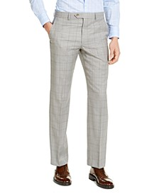 Men's Classic-Fit UltraFlex Stretch Gray Windowpane Suit Pants