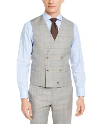 Men's Classic-Fit UltraFlex Stretch Gray Windowpane Double-Breasted Suit Vest