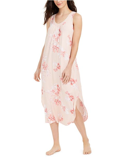 Charter Club Floral-Print Sleeveless Long Nightgown, Created For Macy's