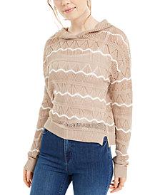 Ultra Flirt Juniors' Pointelle-Knit Hoodie Sweater