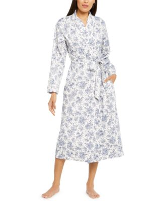Cotton Floral-Print Long Wrap Robe, Created For Macy's