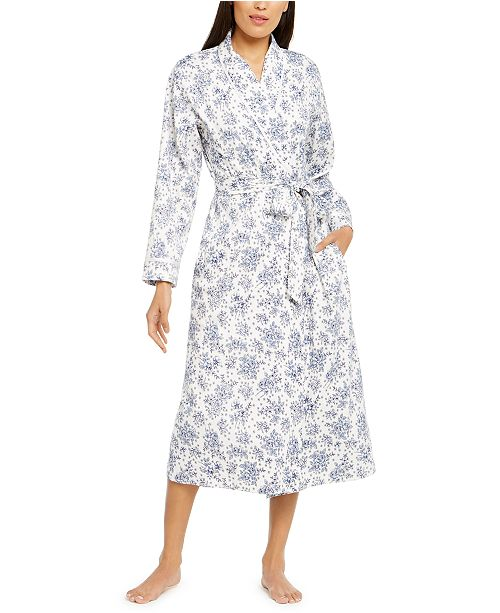 Charter Club Cotton Floral-Print Long Wrap Robe, Created For Macy's