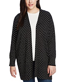 Plus Size Polka-Dot Open-Front Cardigan