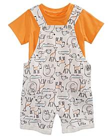 Baby Boys 2-Pc. T-Shirt & Animal-Print Shortalls Set, Created For Macy's
