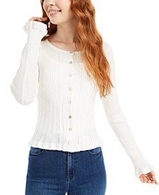 Juniors' Ruffle Pointelle-Knit Button-Front Sweater
