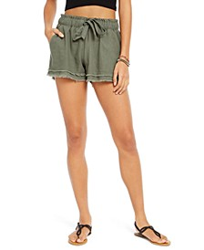 Juniors' Tie-Front Raw-edged Shorts