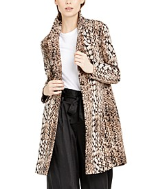 INC Snake-Embossed Scuba Cocoon Coat, Created for Macy's