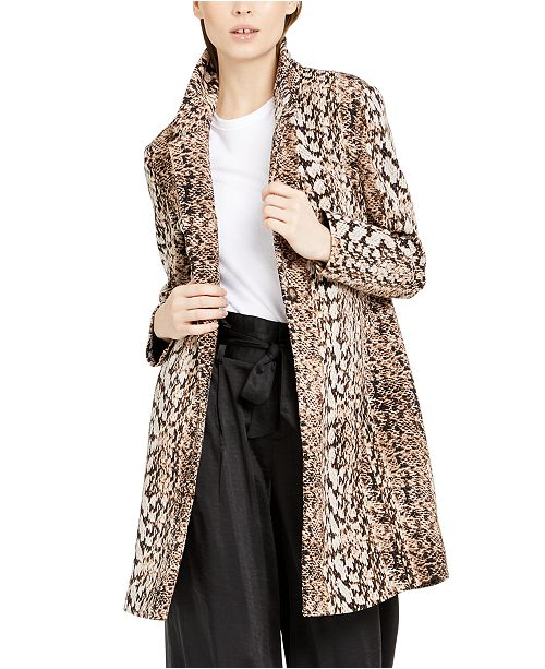 INC International Concepts INC Snake-Embossed Scuba Cocoon Coat, Created For Macy's