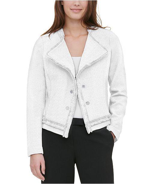 Calvin Klein Wing-Collar Fringe-Trim Jacket