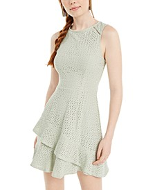 Juniors' Knit Eyelet Fit & Flare Dress, Created for Macy's
