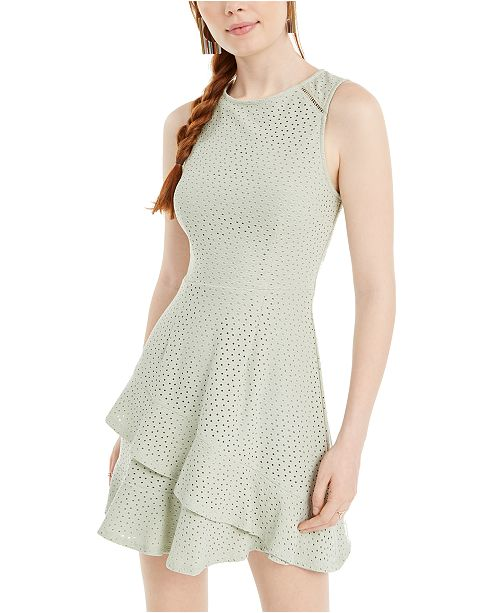 Speechless Juniors' Knit Eyelet Fit & Flare Dress, Created for Macy's