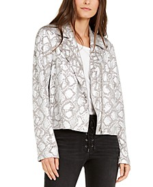 INC Snake-Embossed Moto Jacket, Created for Macy's