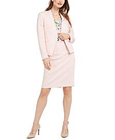 Calvin Klein Petite Textured Asymmetrical Blazer, Floral-Print V-Neck Blouse & Textured Pencil Skirt