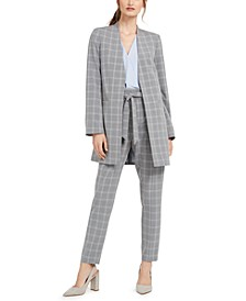 Windowpane Topper, Ruffled Blouse & Windowpane Belted Pants