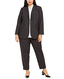 Plus Size Windowpane Jacket, Colorblocked-Trim Blouse & Windowpane Dress Pants