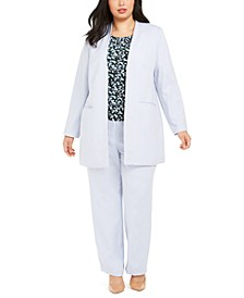 Plus Size Open-Front Jacket, Floral-Print Pleat-Neck Top & Modern-Fit Pants
