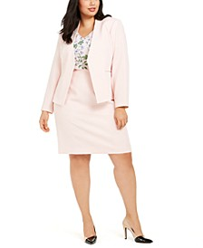 Plus Size Textured Asymmetrical Blazer, Flutter-Sleeve V-Neck Top & Textured Pencil Skirt